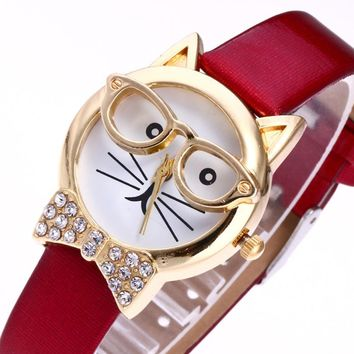 Cute Glasses Cat fashion luxury watch Women casual simple Analog Quartz Dial Wrist Watch school gift for girl relojes mujer