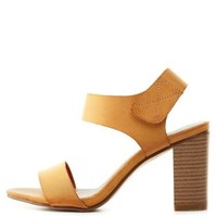 Tan Qupid Single Strap Chunky Heel Sandals