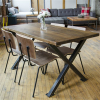 Timber & Plank Reclaimed Wood Dining Table w/ X Bases