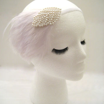 The Lillian - Gatsby wedding hairpiece, 1920s bridal headpiece, feather wedding fascinator, pearl headband, 1920s wedding hair piece