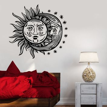 Vinyl Wall Decal Sun Moon Stars Night Bedroom Design Stickers Unique Gift (996ig)