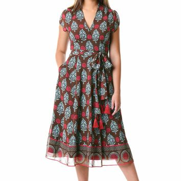 Banded empire paisley print georgette dress