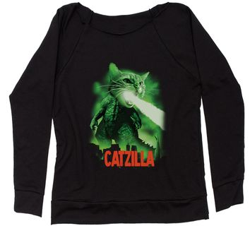 Catzilla Cat Zilla Slouchy Off Shoulder Oversized Sweatshirt