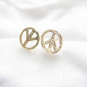 Peace earrings, gold peace earrings, gold earrings, peace sign earrings, studs gold