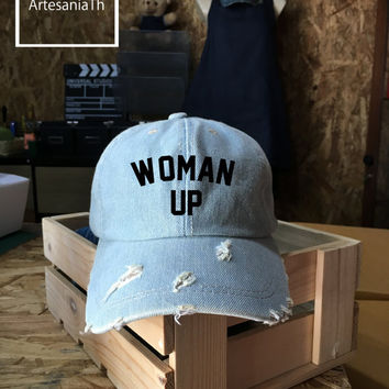 Woman Up hat - Workout hat , Denim Cap, Jean Cap, Feminist , Feminism , Wonder Woman Tumblr hat , Low-Profile Baseball Cap Hat