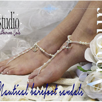 ANCHOR AMOUR Barefoot sandals pearl nautical beach wedding foot jewelry bridal shoes bridesmaids footless sandles beach wedding  BF20
