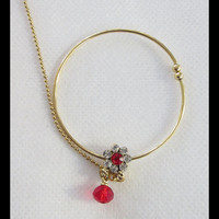 Indian Gold Bridal Red Stone Nose Ring Nath