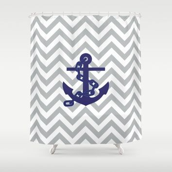 Anchor on Grey Chevron Pattern Shower Curtain by Lena Photo Art