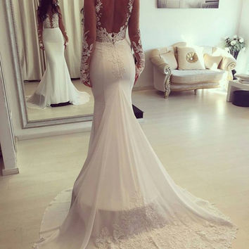 High Quality V Neck Appliques Mermaid Wedding Dress Long Sleeves White Lace Luxury Wedding Dress Vestido De Noiva (SL-W619)