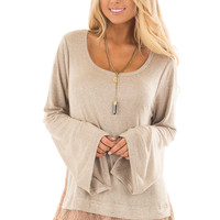 Mocha Bell Sleeve Top with Lace and Chiffon Details