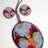 Floral Deer Skull Acrylic Charm 18 Inch Silver Necklace and matching post earrings