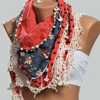 On sale. SPRING SCARF. RED with black polka dotted and blue floral pattern soft cotton scarf with firinge.