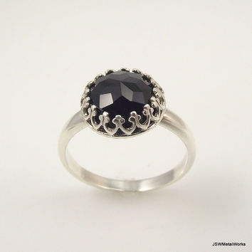 Victorian Sterling Silver Faceted Black Onyx Ring, Ornate Silver Ring, Filigree Ring, Size 8