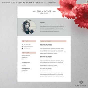 Professional Creative Resume Template for Microsoft Word, Photoshop and Illustrator, Adjustable colors, Mac or PC, A4, Instant Download