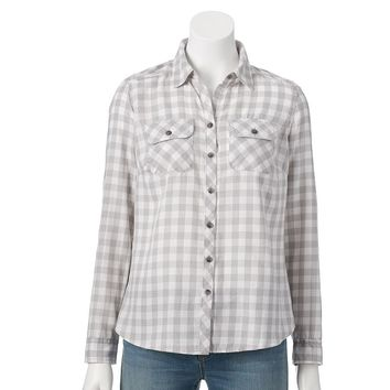Croft & Barrow Flannel Shirt - Petite, Size:
