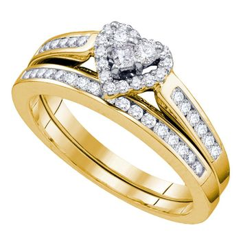 14kt Yellow Gold Womens Diamond Heart Love Bridal Wedding Engagement Ring Band Set 1/2 Cttw