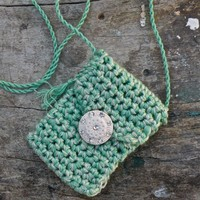 Heart - a one of a kind Spirit Pouch made with vintage cotton floss