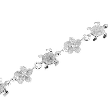 STERLING SILVER 925 HAWAIIAN BABY SEA TURTLE 6MM PLUMERIA FLOWER ANKLET 9 1/2""