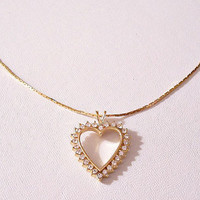 Monet Crystal Heart Pendant Necklace Gold Tone Vintage Thin Box Chant Round Clear Rhinestones Raised Rimmed Accent Hangtag Lobster Claw