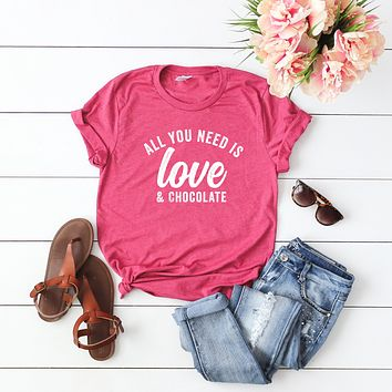 All you Need is Love and Chocolate Short Sleeve Graphic Tee