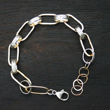 Mixed metal link bracelet. Sterling silver and gold filled link bracelet. Unique, modern contemporary gold and silver bracelet. Handmade.