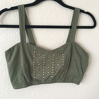 Army Green With Gold Detail Crop Top Bra By Bozzolo Size L