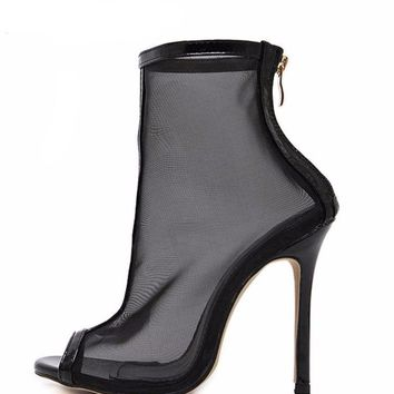 Mesh Peep Toe Ankle Boot Stiletto Heels