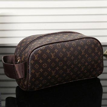 LV Louis Vuitton Womens Fashion Leather Shopping Cosmetic Bag F/A Brown Small Print