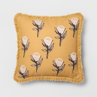 Yellow Floral Fringe Throw Pillow - Opalhouse™