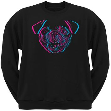 3D Pug Face Black Adult Crew Neck Sweatshirt