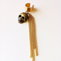 Gold Skull Chain Ear Cuff