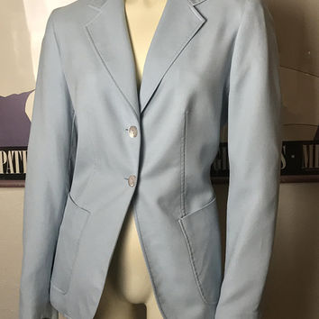 Vintage 90s Liz Claiborne Powder Blue Blazer / 100% Silk Light Blue Pastel Jacket / Fully Lined / Hip Pockets / Single Breasted Two Buttons