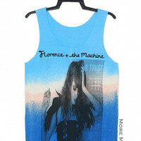 Florence and the Machine Tie Dye Light Blue No Sew Singlet Vest Tunic Tank Top Sleeveless Shirt Women Indie Singer Pop Rock T-Shirt Size S-M