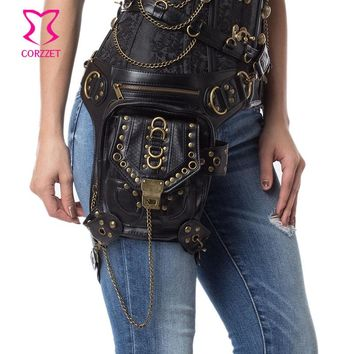 Vintage Black PU Leather Women/Men Steampunk Rock Waist Bag Shoulder Bags Gothic Phone/ Messenger Bag Match Corsets