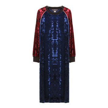 [TWOTWINSTYLE] 2017 Velvet Hit Color Long Sleeves Spliced Long Dress Women Clothing New Vintage
