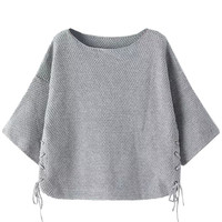 Gray Knitted Cropped Sweater