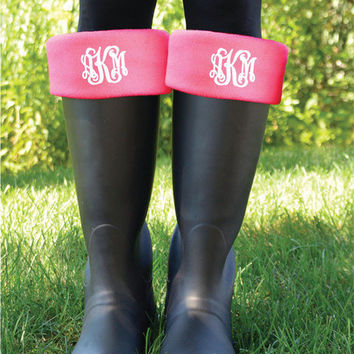 Monogrammed Rain Boot Cuff Socks         Personalized Fleece Boot Inserts                                  New Englander Boot Socks Hot Pink