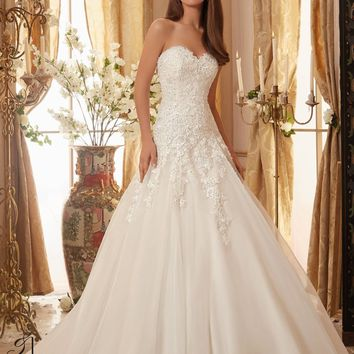 Blu by Mori Lee 5470 Strapless Lace Drop Waist A-Line  Wedding Dress