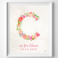 Personalized, Print, Clara, Custom Name, Nursery Art, Camille, Claudia, Cecilia, Carmen, Cindy, Cara, Gift, C, Baby, Initial, Girl