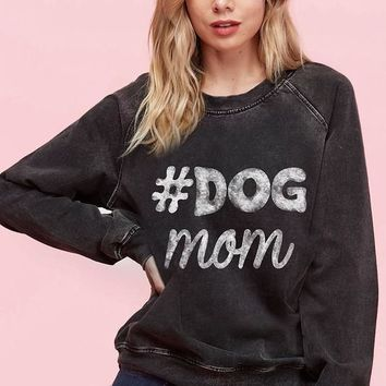 Dog Mom Acid Washed Long Sleeve Sweatshirt (Charcoal)