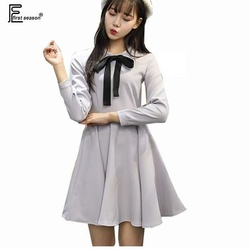 S-XL 2 Colors Cute Sweet Dresses New Hot Women Korean Japanese Style Princess A Line Party Holiday Wear Long Sleeve Bow Dress