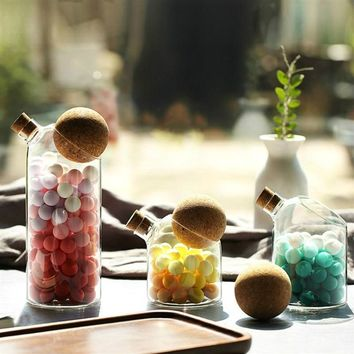 Creative Kitchen Unique Glass Storage Jar With Cork Ball Shape Or Flat Lid