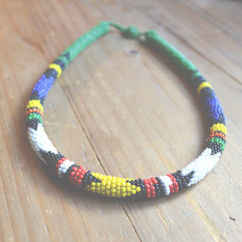 beaded tribal collar // vintage navajo // native american