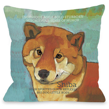 """Shiba"" Indoor Throw Pillow by Ursula Dodge, 16""x16"""