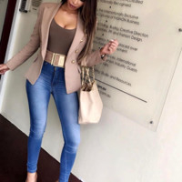 'Giselle' Buttoned Blazer - Nude