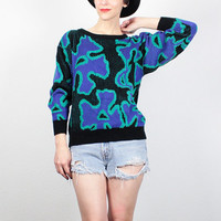 Vintage 1980s Sweater Black Purple Teal Green Pullover 80s Sweater Cosby Sweater Hipster Mod Abstract Floral Print Pullover S Small M Medium