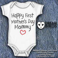 Happy first mothers day mommy Baby Onesuit, Fullprint Onesuit Bodysuit