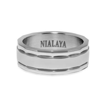 Men's Polished Silver Band Ring with Engraving
