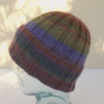 Knit Watchcap, Ribbed Knit Watchcap, Knit Striped Hat, Multi Color Striped Hat, Wool Blend Hat, Beanie