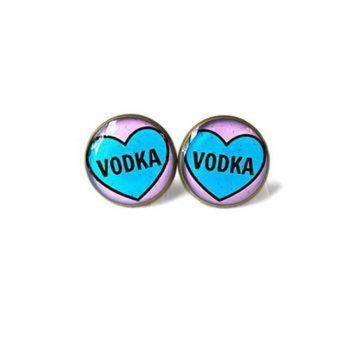 DCCK1IN pastel goth conversation heart vodka earrings funny polka dot pop culture soft grung